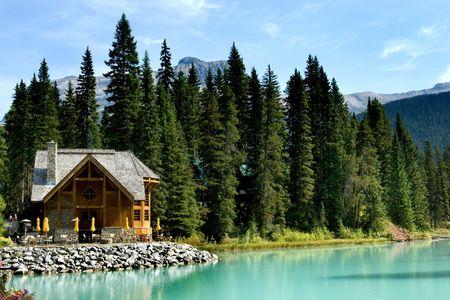 Wooden retreat on Emerald lake, Yoho national park, Canadian Rockies