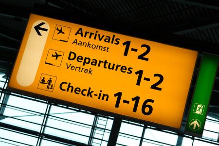 Directional sign inside Schiphol International Airport, Amsterdam