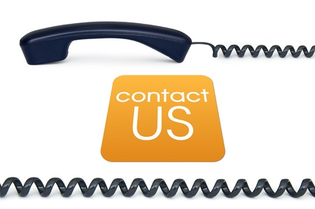 Black handset isolated on a white background with the sign contact us