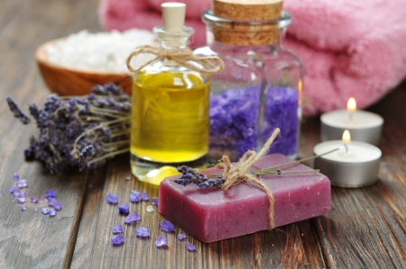 Herbal soap with oil, sea salt and lavander flowers