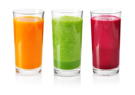 Vegetable smoothie from cucumber, beet and carrot isolated on whiteの写真素材