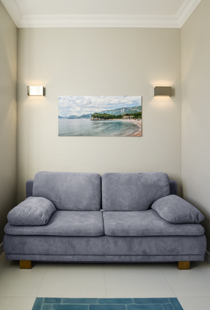 Foto de Modern living room interior with sofa and photo scenery on the wall. Photo on the wall made by me. - Imagen libre de derechos