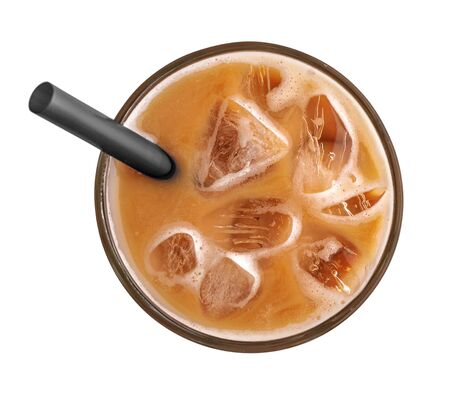 Photo pour Iced coffee  with  drinking straw isolated on white background, top view - image libre de droit