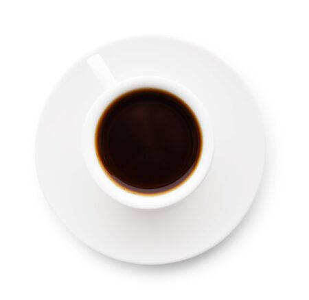 Photo pour Cup of coffee isolated on white background, top view - image libre de droit