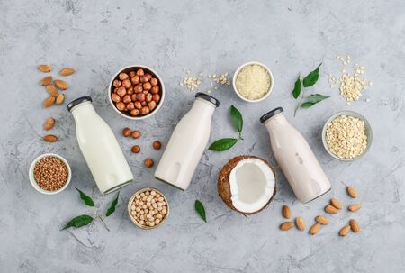 Photo pour Assortment of ingredients for organic vegan non dairy milk in bowls and bottles with vegan milk on concrete a kitchen table, top view - image libre de droit