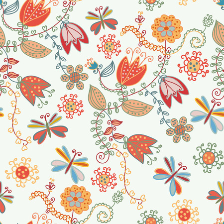 Floral seamless ornate pattern with tulips and dragonflies