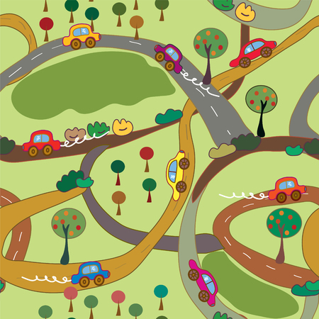 Cartoon seamless pattern with cars and roads in the country