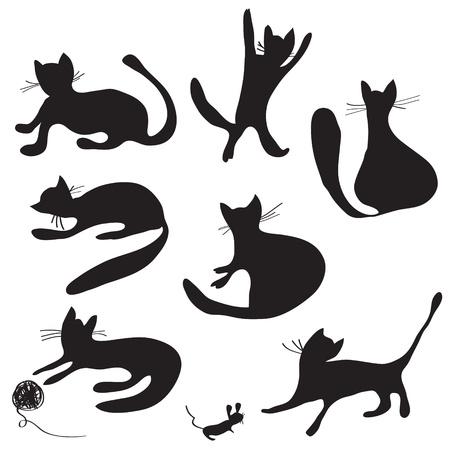 Cat silhouettes set funny cartoons
