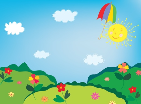 Landscape with flowers and funny sun
