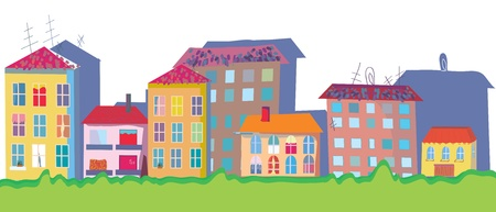 Houses at street funny banner cartoon