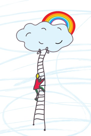 Man climbing to heaven with dream illustration