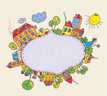 Illustration for Frame for kids with town and children funny design  - Royalty Free Image
