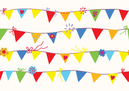 Bunting flags seamless pattern funny design