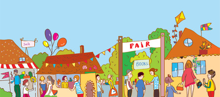 Illustration for Fair holiday at the town illustration with many people and houses - Royalty Free Image