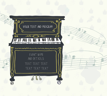 Poster for the piano concert with melody - retro design