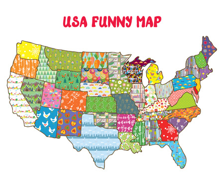 United States funny map with patterns - design for kids