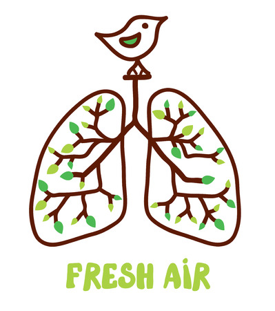Lungs and nature - illustration for the fresh air concept