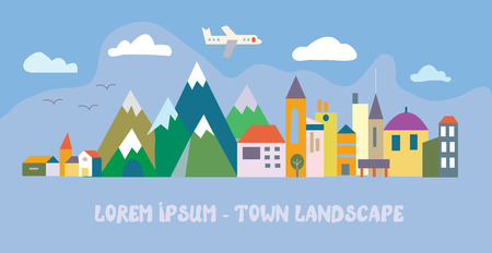 Illustration for Banner with tourist town - funny flat illustration - Royalty Free Image
