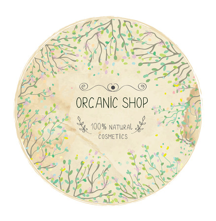 Illustration for Eco shop natural label design with trees and leaves. - Royalty Free Image