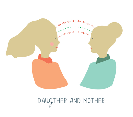 Illustration for Mother and daughter communication - conceptual graphic illustration - Royalty Free Image