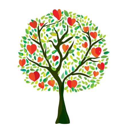 Illustration pour Love tree with hearts, Valentine card - vector graphic illustration - image libre de droit