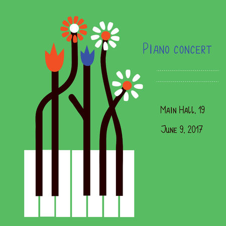 Illustration pour Piano concert design of banner with keys and flowers - vector graphic illustration - image libre de droit