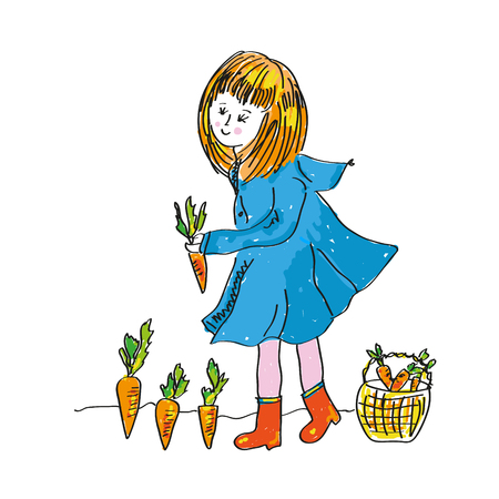 Girl and carrot harvest - cute illlustration for the gardening. Vector graphicのイラスト素材