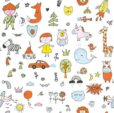 Illustration pour Kids doodle seamless pattern for the kindergarten, cute design. Vector graphic illustration - image libre de droit