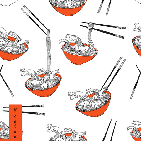 Hand drawn ramen noodle wave in bowl pattern in vector