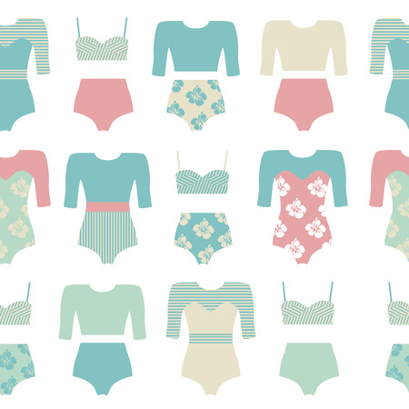 Vector set of vintage surfing swimsuits. Surf swimwear isolated. Fashion illustration of swimsuits and bikini. Surfing clothing.