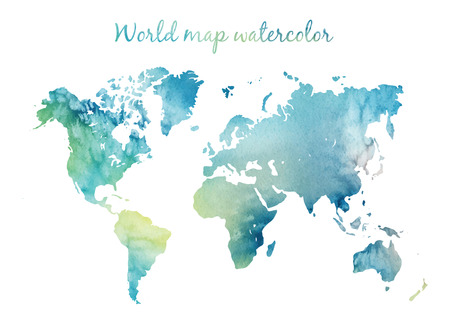 Ilustración de Watercolor world map in vector on wight background. Illustration in vector. - Imagen libre de derechos