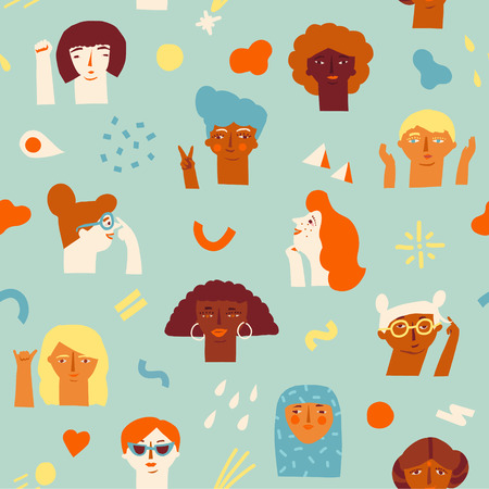 Illustration pour A woman empowerment ideas seamless pattern icon isolated on plain background. - image libre de droit