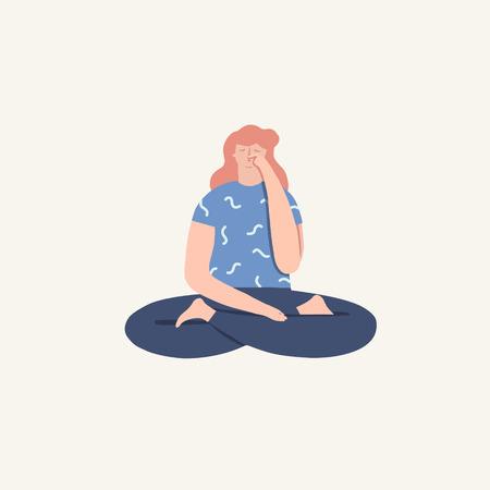 Illustration pour Women doing yoga breathing exercise pranayama. Wellness illustration in vector. - image libre de droit