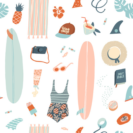 Illustration for Surfer summer beach objects seamless pattern in vector. Summertime illustration in vector. - Royalty Free Image
