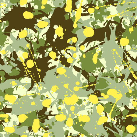 Green shades, yellow, beige artistic ink paint splashes camouflage seamless pattern