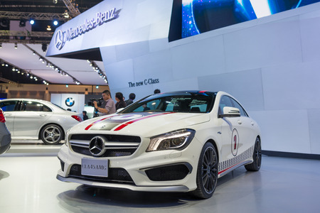 BANGKOK - MARCH 25 : Mercedes Benz CLA 45 AMG on display at The 35th Bangkok International Motor Show on March 25, 2014 in Nonthaburi, Thailand.
