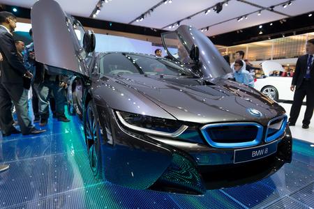 BANGKOK - MARCH 25 : BMW i8 hybrid production car on display at The 35th Bangkok International Motor Show on March 25, 2014 in Nonthaburi, Thailand.