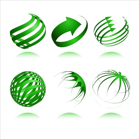 set of 3d abstract vector sphere element
