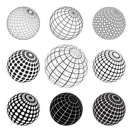 set of black and white vektor globe