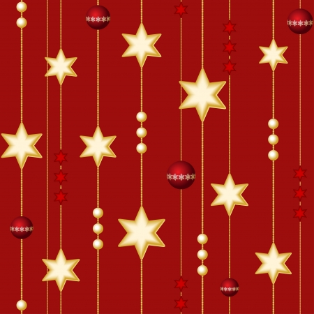Seamless Christmas balls and stars on the red background