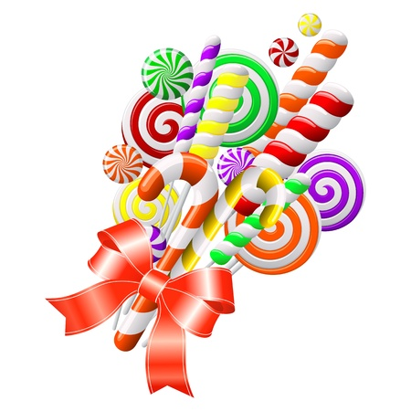 Bunch of colorful candies with red ribbon