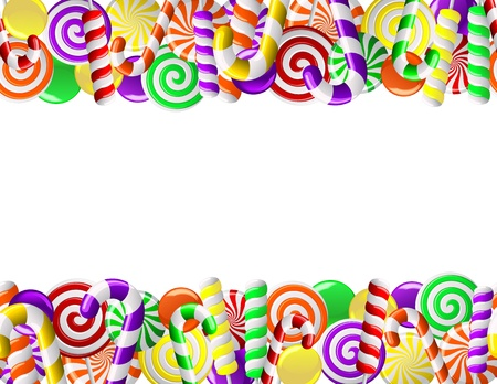 Frame made of colorful candies  Seamless pattern