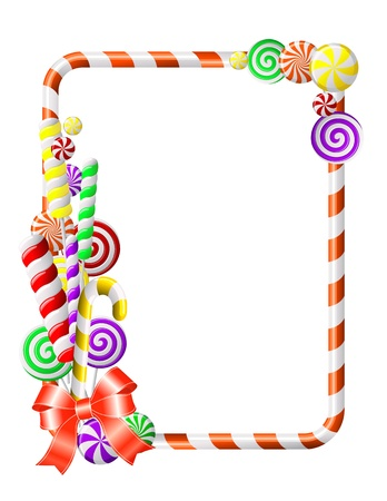 Sweet frame with colorful candies illustration