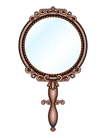 Antique retro hand mirror isolated on white background  Vector illustration