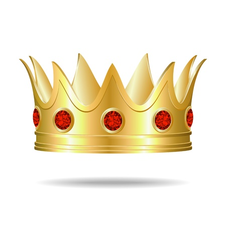 Gold crown with red gems Illustration