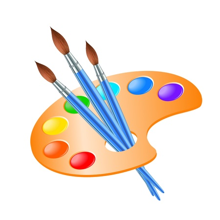 Art palette with paint brush for drawing  Vector illustration