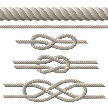 Seamless rope and rope with different knots. illustration