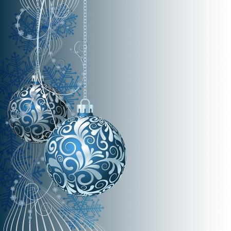 Blue Christmas card with Christmas balls and snowflakes