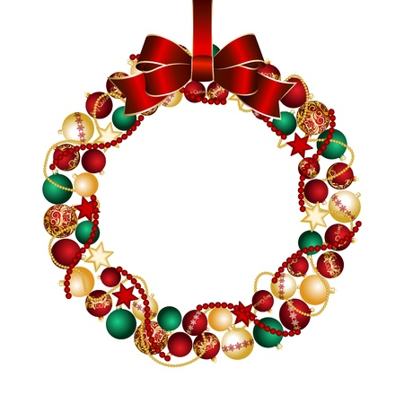 Christmas wreath decoration from Christmas Balls  Vector illustration