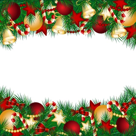 Christmas card with Christmas tree branches and balls   illustration